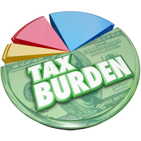 35021326 - tax burden words on a 3d pie chart to illustrate a high percentage of income or revenue owed to the government