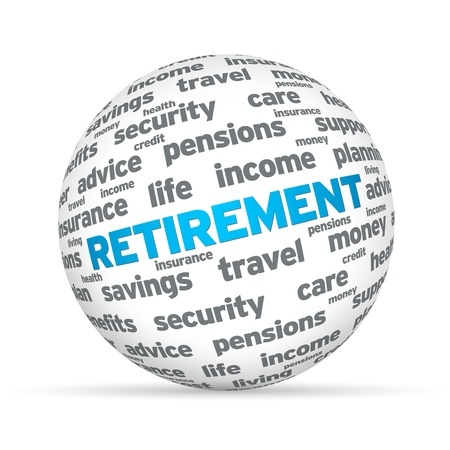 12413560 - retirement 3d sphere sign on white background.
