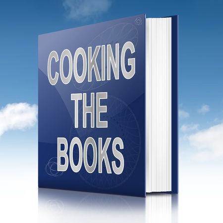 17570326 - illustration depicting a book with a cooking the books concept title. sky background.