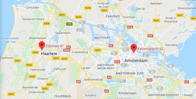 orangetax zijlstraat haarlem || keizersgracht amsterdam map